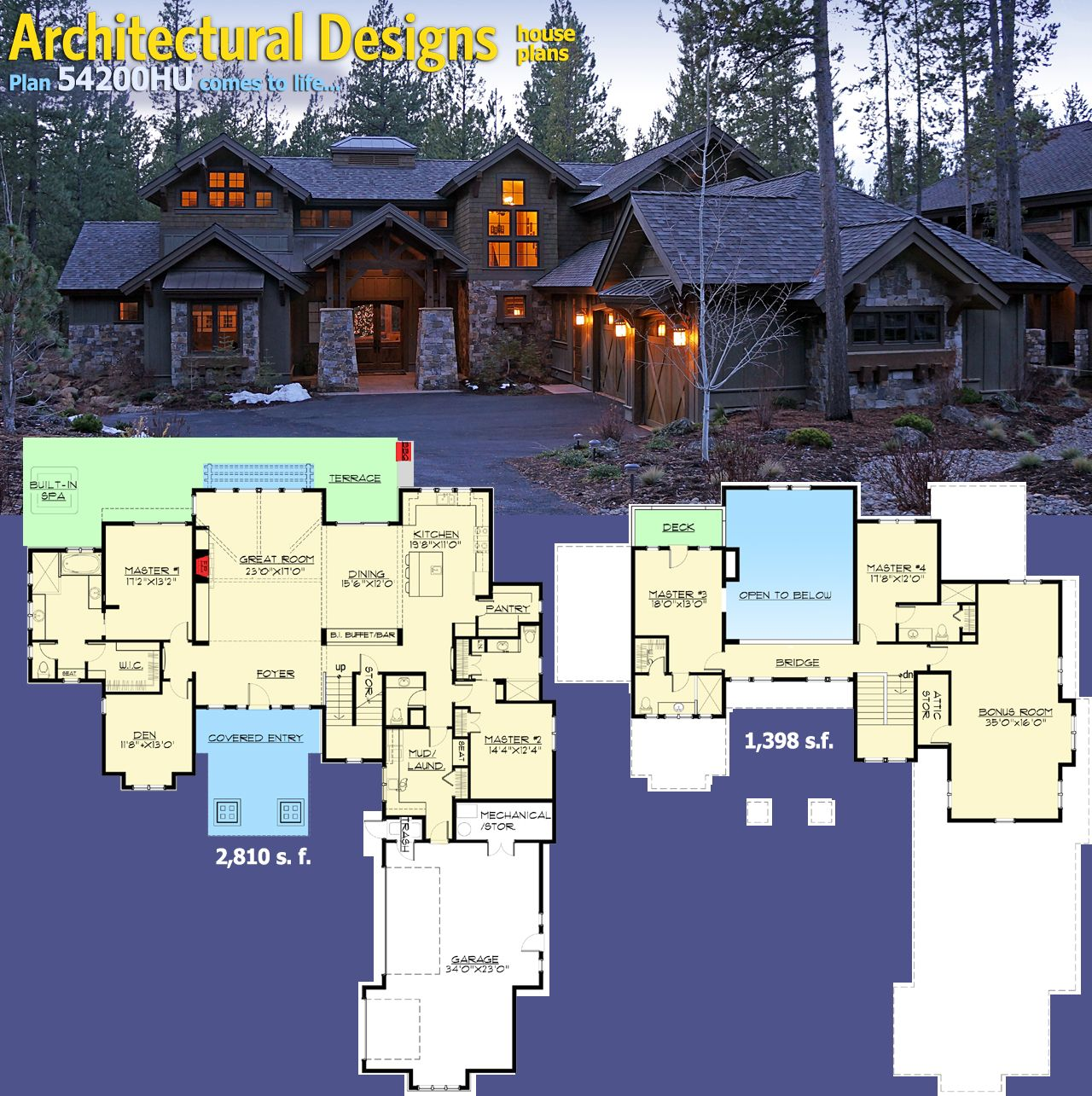 Plan 54200hu Stunning Mountain Home With Four Master Suites House Plans Architecture House House Blueprints