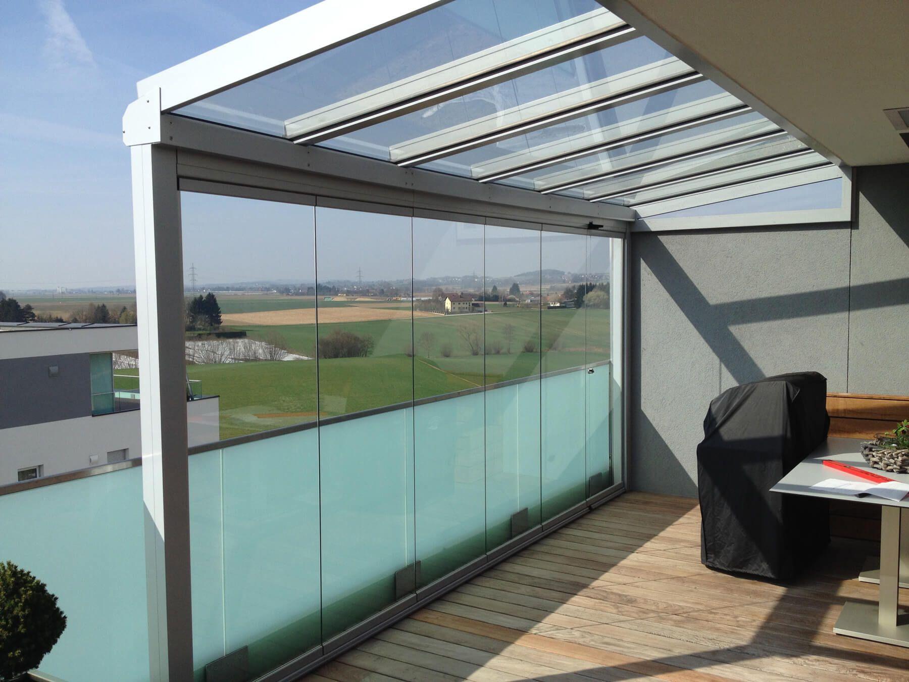 Balkon Uberdachung Mit Glasgelander In 2020 Terrassenuberdachung