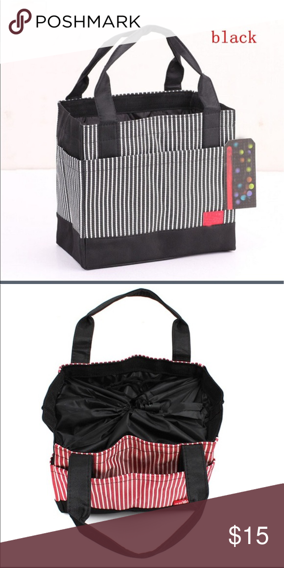 Lunch/Miscellaneous Bag This super CUTE lunch or miscellaneous tote can be used for so many things.  Crafts, lunch, makeup, etc.  It has a drawstring closure, made of Oxford cloth.  Black and White Striped.  Bag size is 20.5cm*12. 5cm*18cm and strap height is 13 cm. Bags