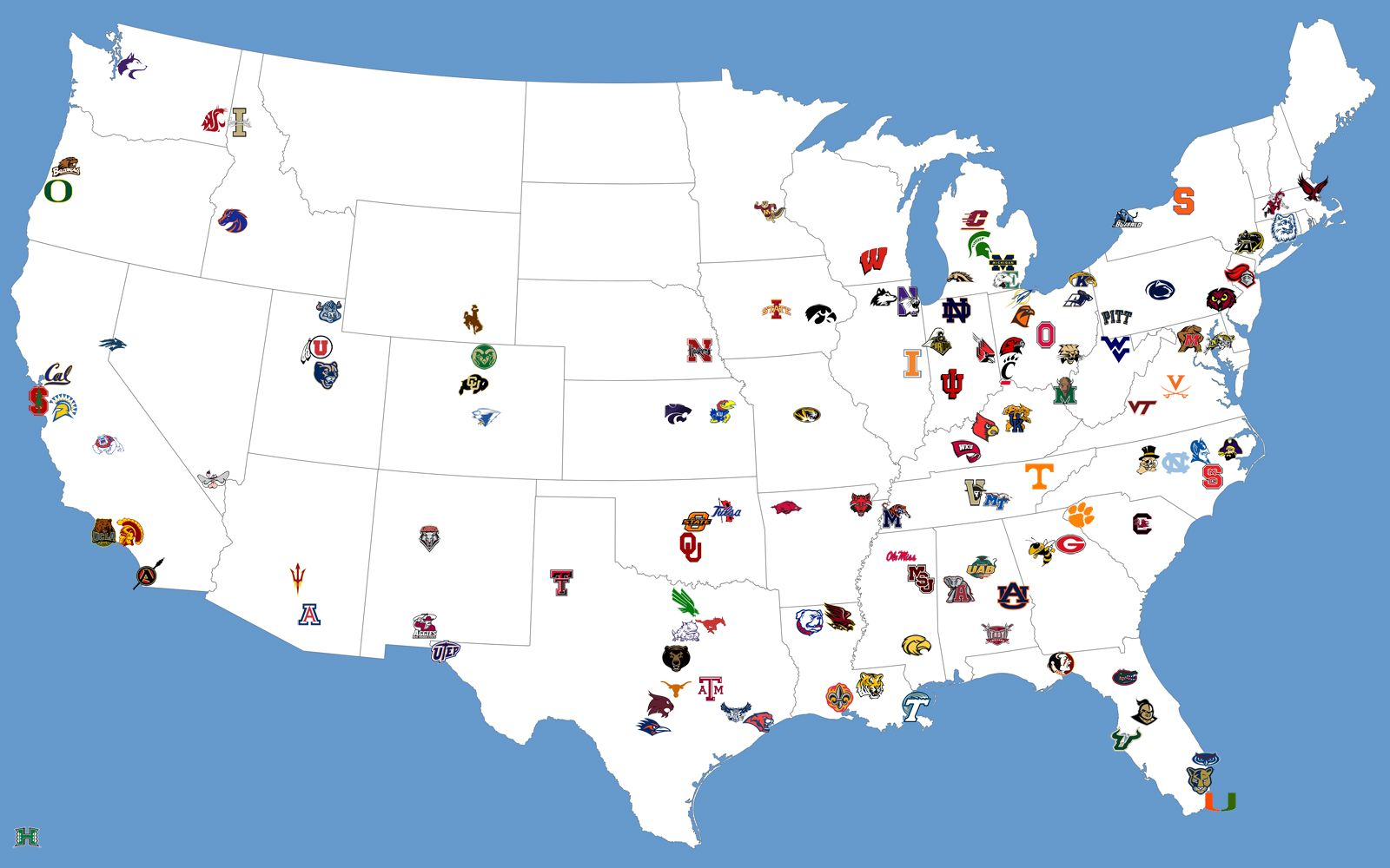 College Football Map What If Each Winner Took Its Opponents - Map of all us colleges
