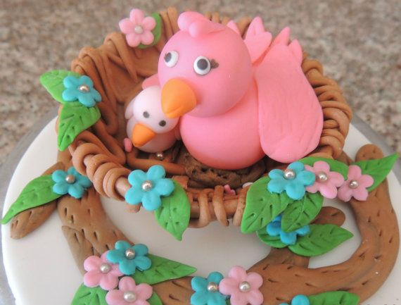 Fondant Mom And Baby Birds In The Nest Baby Shower Cake Topper