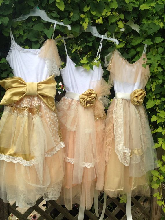 91b21ea8606 love love love these dresses!! Junior Bridesmaid Peach and Gold gown by  chachalouise on Etsy