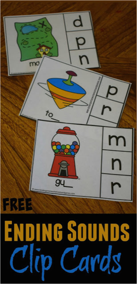 FREE Ending Sounds Clip Cards Phonics kindergarten