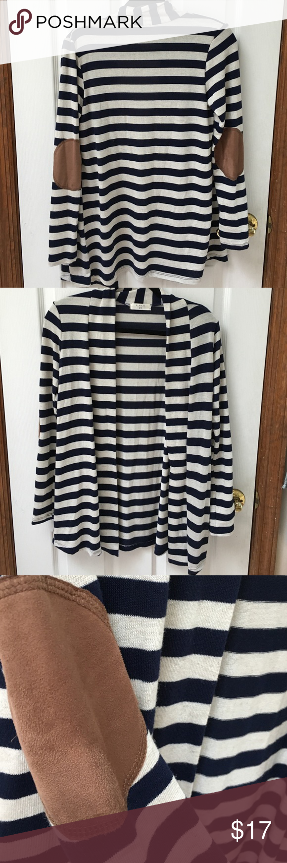 Striped cardigan with elbow patches . Navy and cream lightweight ...