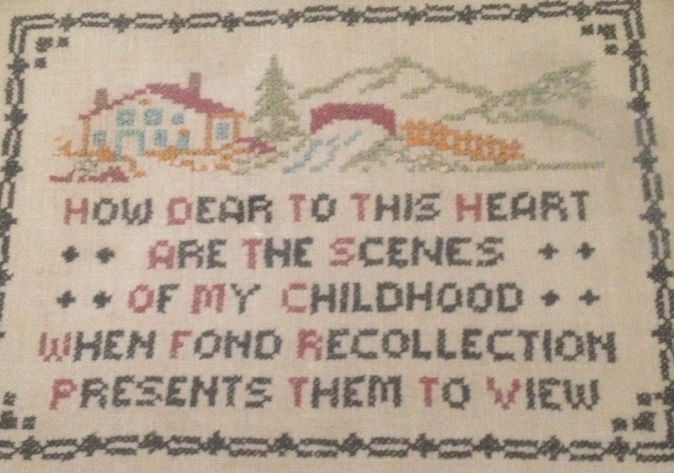 I have wonderful childhood memories. I bought this at a church sale years ago and framed it.