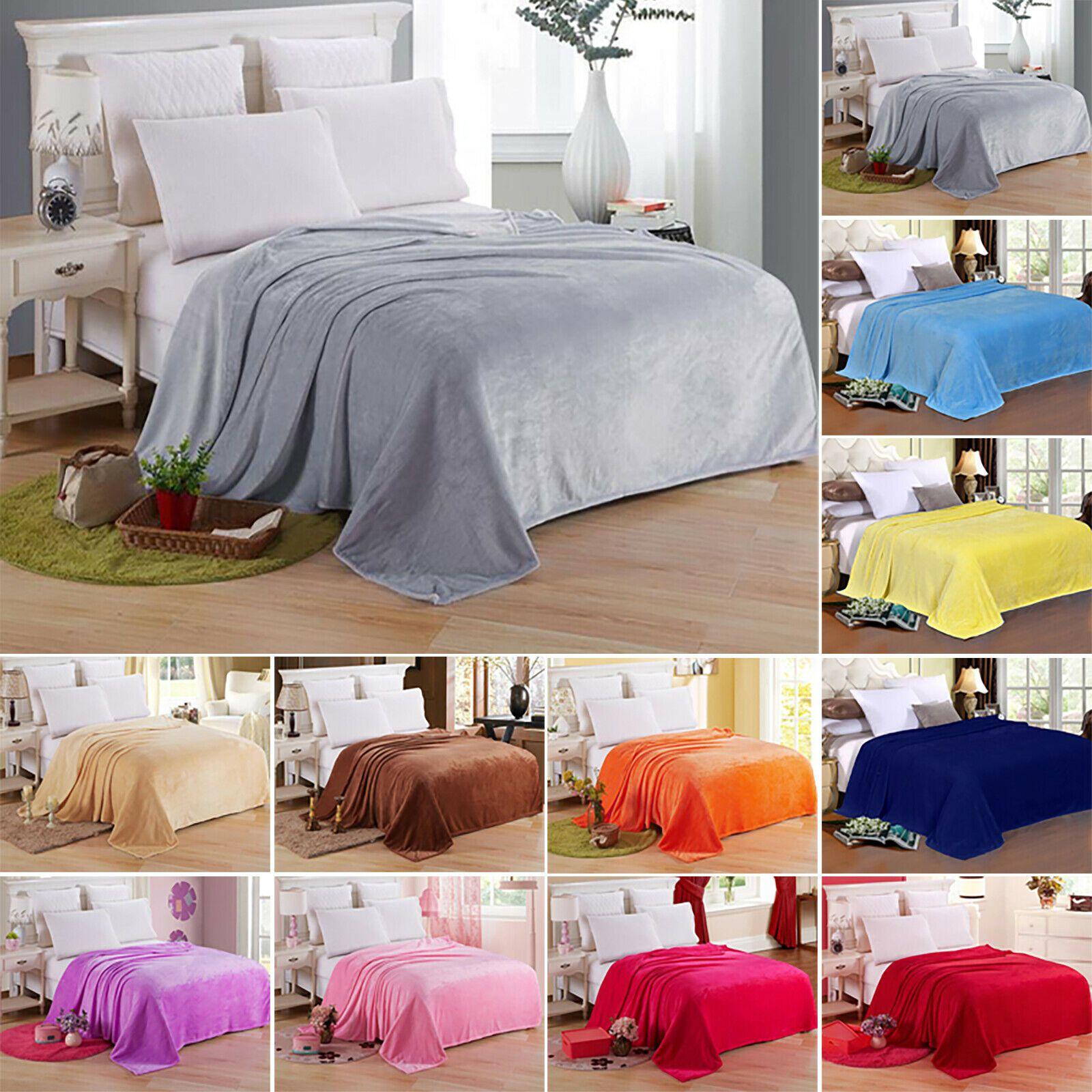 Luxury Soft Blanket Fleece Warm Throw Sofa Bed Flannel Single Double Queen King
