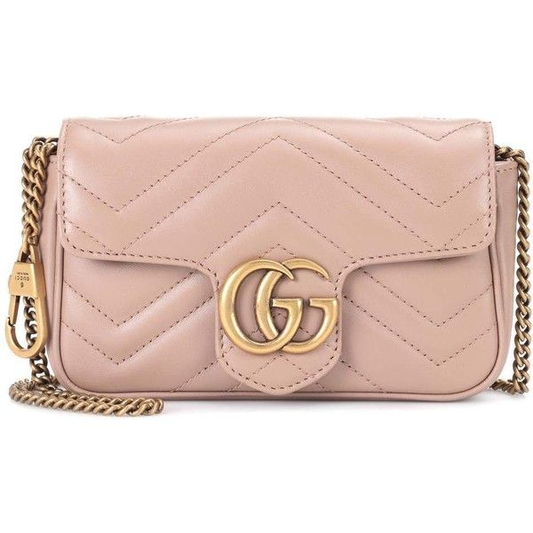 Gucci GG Marmont Mini leather shoulder bag (17,060 MXN) ❤ liked on Polyvore featuring bags, handbags, shoulder bags, pink leather handbags, mini shoulder bag, pink purse, leather purse and leather shoulder bag