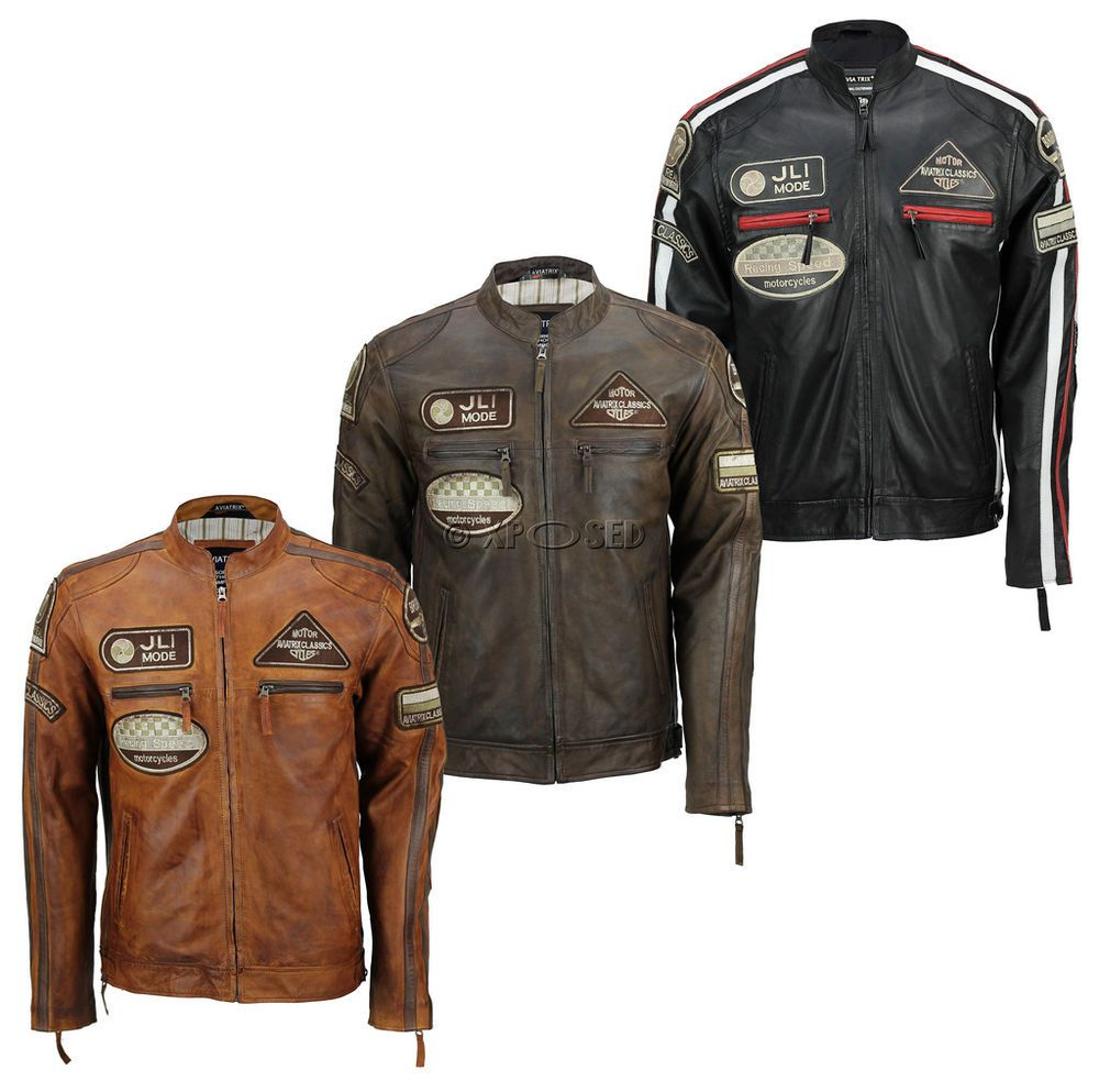 Mens Real Soft Leather Fitted Racing Biker Jacket Vintage Urban Retro Look Jackets Biker Jacket Mens Jackets