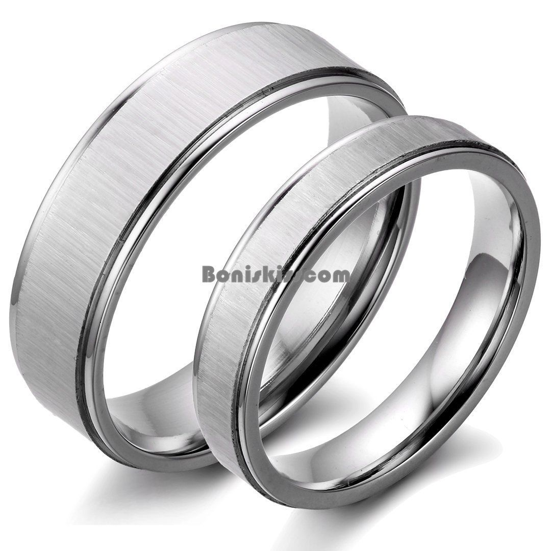 Couples Brushed Stainless Steel Men Ladies Wedding Band