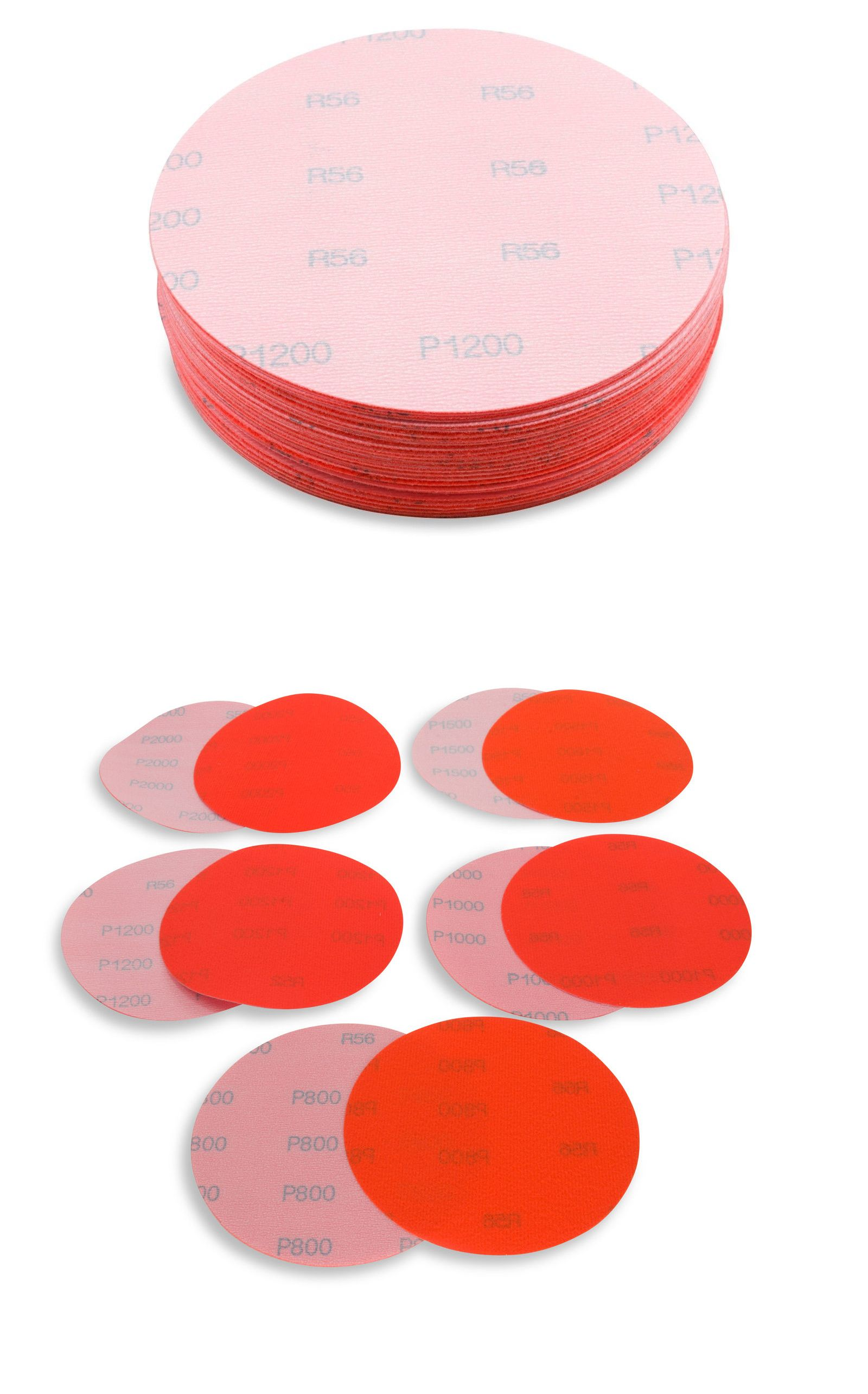 "5/"" Waterproof Hook and Loop Sanding Discs Assorted Extra Fine Grits-50pk"