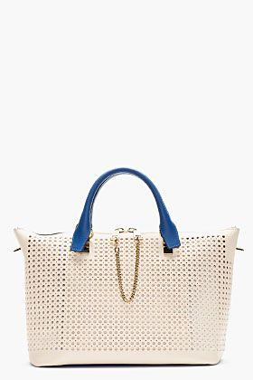 Chloe Blue & Beige Perforated Baylee Small Tote for women | SSENSE