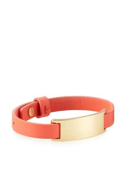 Kate Spade Saturday Coral Leather Identity Bracelet