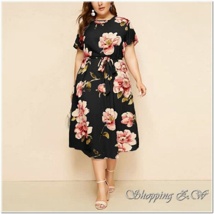 Sakoid Womens Floral Print Plus Size Dress Retro O-Neck Short Sleeve Gowns Girls Casual High Waist Bandage Dress