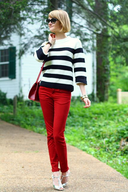 2af6aa2b Jigsaw sweater + Giveaway by districtofchic, via Flickr. striped sweater, red  jeans ...
