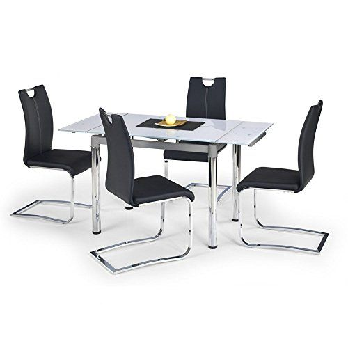 JUSThome Dining Table Logan Extendable Glass White (LxWxH