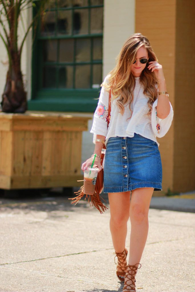3abe49f09 Orlando Florida fashion blog styles crochet top with H&M button up denim  skirt, Dolce Vita Lyndon sandals, and sancia babylon saddle bag for spring  outfit