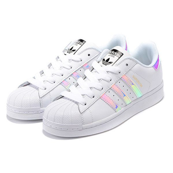 Adidas Superstar Junior Laser Bright Shoes Silver White found on Polyvore featuring polyvore