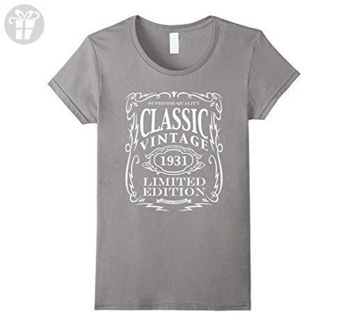 Womens Vintage 1931 T-Shirt - 86th Birthday Gift Shirt Medium Slate - Birthday shirts (*Amazon Partner-Link)