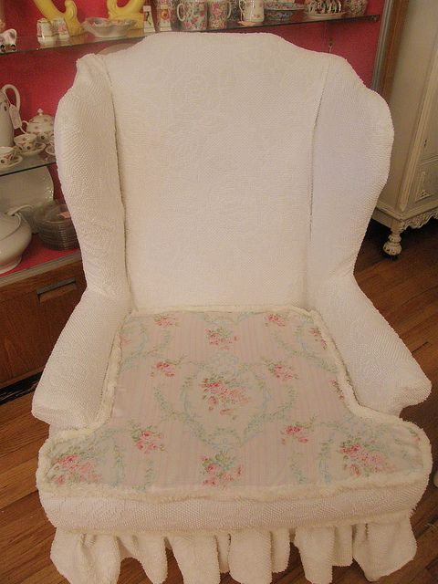 Shabby Chic Slipcover Wingback Chair White Vintage Chenille .
