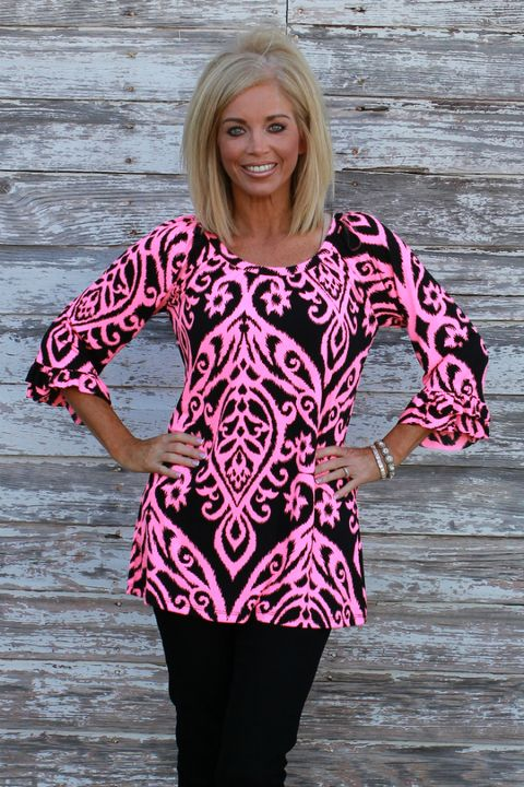 Neon Pink & Black Damask Print Tunic with Ruffle Sleeves ~ Sizes 4-12