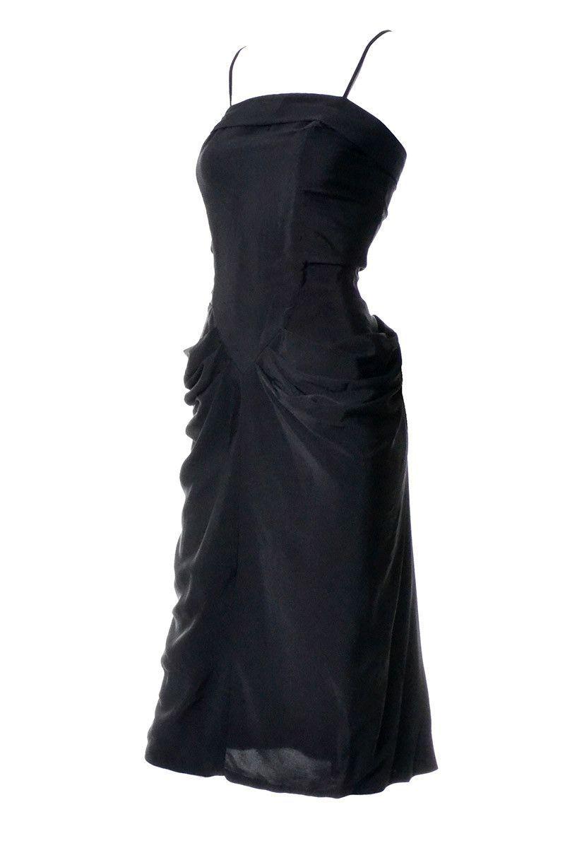 S vintage black rayon gathered evening cocktail dress spaghetti