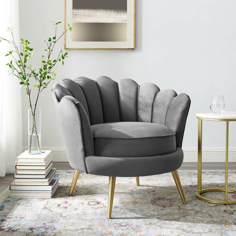 Demers Scalloped Edge Performance Velvet Accent Barrel Chair Allmodern Arm Chairs Living Room Accent Arm Chairs Living Room Chairs