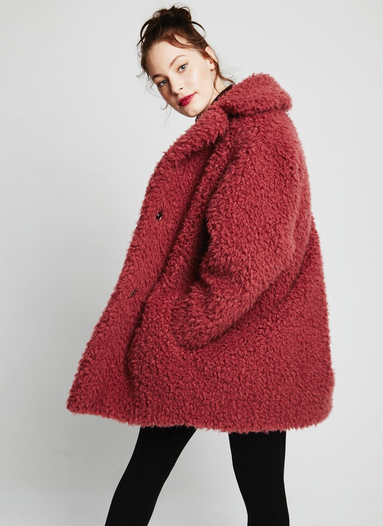 Abrigo rosa de pelo rizado abrigos adolfo dominguez for Abrigos adolfo dominguez outlet