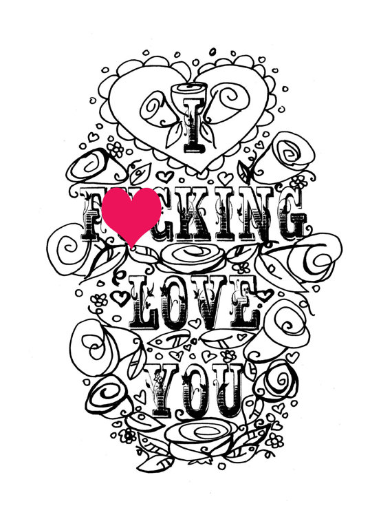 Printable Valentines Day Card Curse sweary adult coloring I F