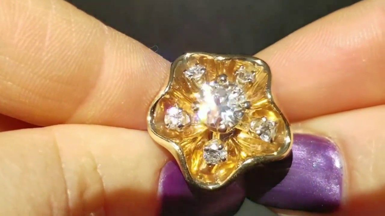 Vintage ct diamond ring k yellow gold floral estate cocktail