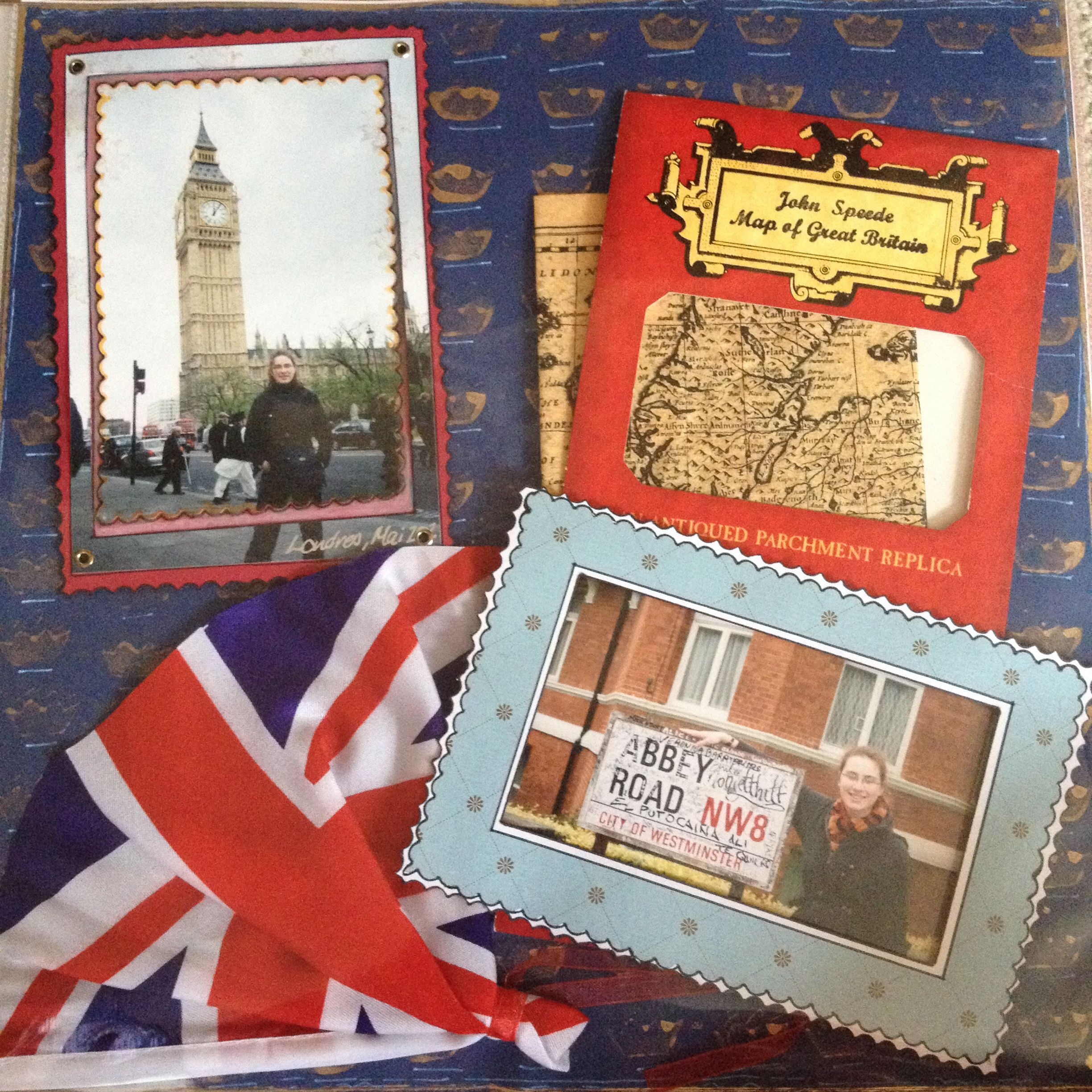Scrapbook paper england theme - Scrapbook Page London England Flag And Map