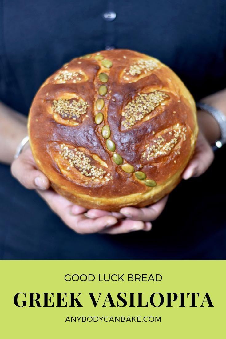 Vasilopita Also Known As Saint Basil S Good Luck Bread Is A Popular Traditional Greek Bread In Greece And In M In 2020 Greek Bread Vasilopita Recipe Vasilopita Cake