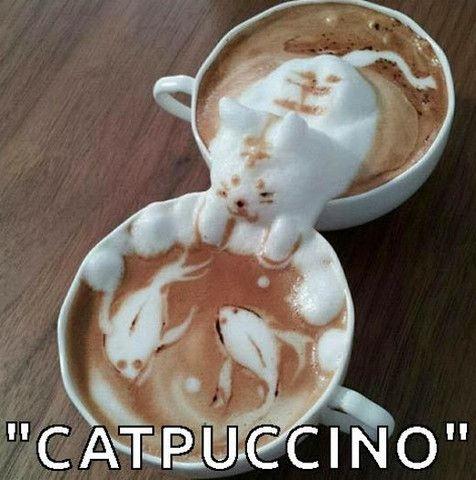 Catpuccino #art #coffee #cute #funny #cat #fish