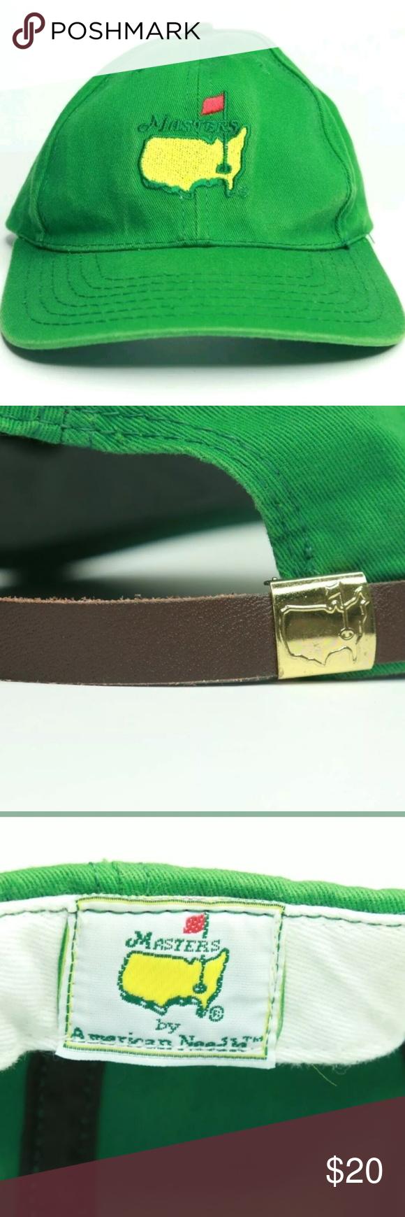Masters Golf Logo Adjustable Hat Please Read Entire Description Item Masters Golf Logo Adjustable Hat With Leather Adjustable Hat Golf Logo American Needle