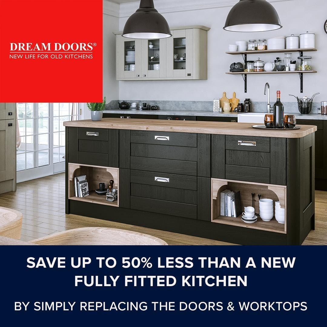 A Dream Doors Kitchen Makeover Is Up To 50 Cheaper Than The Price Of A Fully Fitte In 2020 Kitchen Cupboard Doors Replacement Kitchen Cupboard Doors Kitchen Cupboards