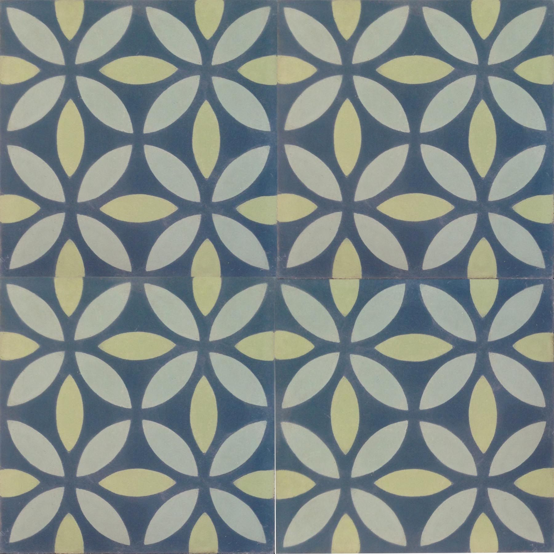 Petals blue green encaustic tile httpencaustic tiles a unique range of encaustic tiles cement tiles moroccan handmade and hydraulically pressed stock designs a unique range of encaustic tiles dailygadgetfo Gallery