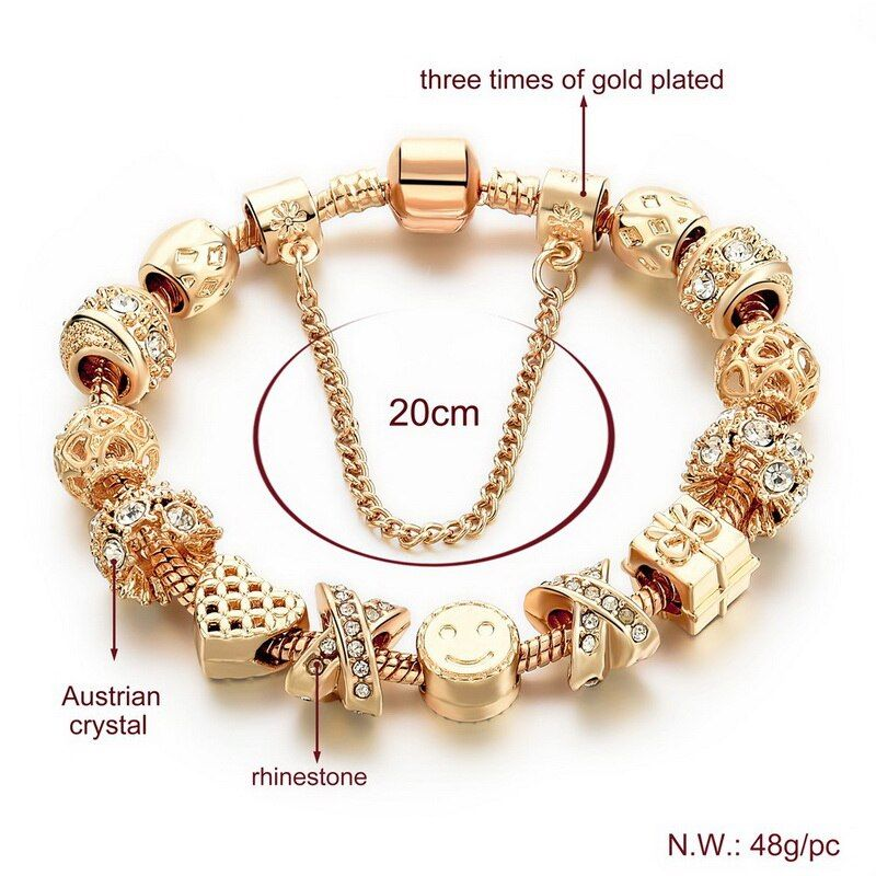 Crystal Bees Gold Color Charm Bracelet For Girl Glass Beads Fine Bracelet For Women DIY Jewelry Gift Gold-Color 20cm
