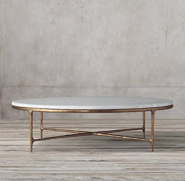 Thaddeus Forged Brass Marble Round Coffee Table Runder