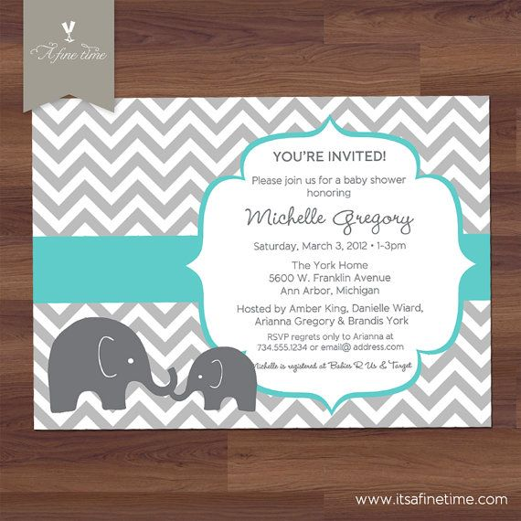 Editable Baby Shower Invitation, Yellow and Grey Elephant Gender ...