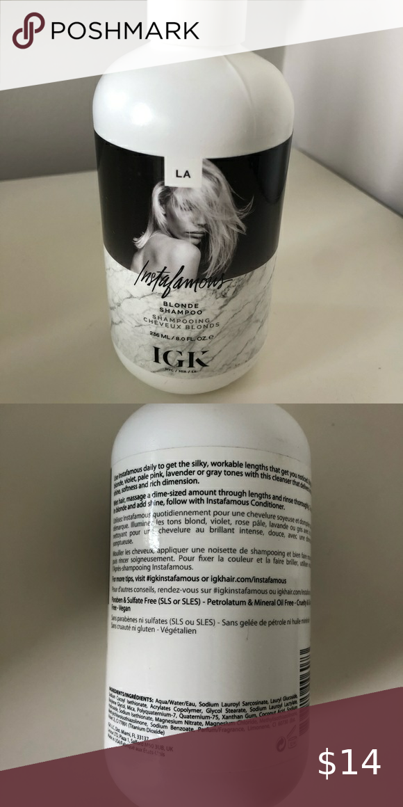 Brand New IGK instafamous blonde shampoo Brand New IGK instafamous blonde shampoo - 8 fl oz -brand new never used - purchase June 2020 -purple shampoo IGK hair Hair Shampoo