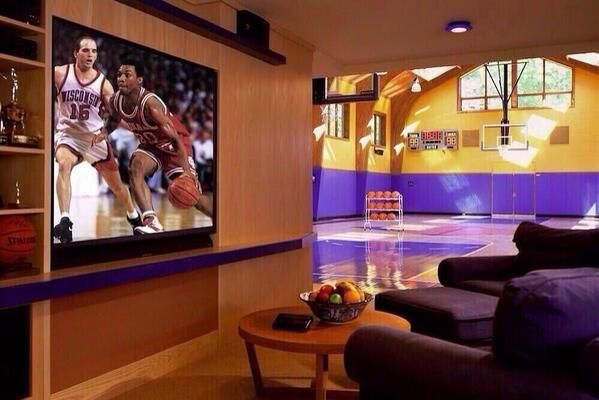 Man Cave With Basketball Court Home Basketball Court Home Gym Design Trendy Home