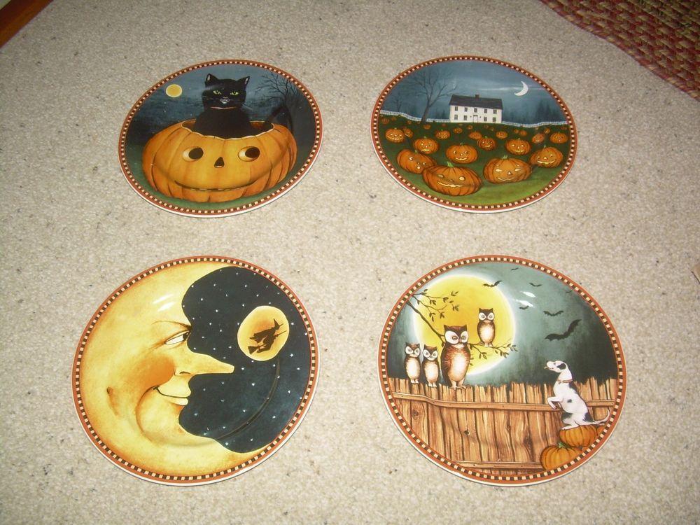 4~ Sakura David Carter Brown PUMPKIN HOLLOW Halloween Plates NEW FREE SHIP\u2026 & 4~ Sakura David Carter Brown PUMPKIN HOLLOW Halloween Plates NEW ...
