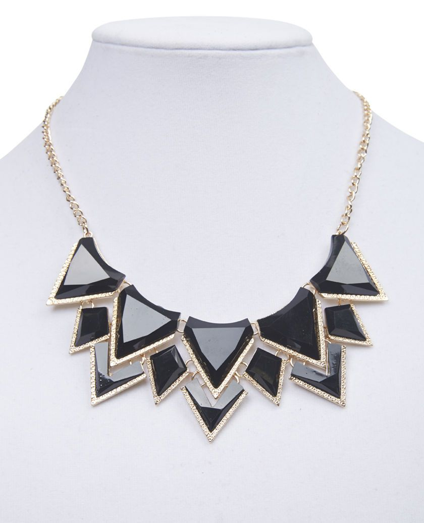 Faceted Triangles Bib Necklace