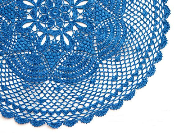 Blue hand dyed Crochet Vintage Doily