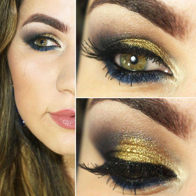 Tutorial – maquiagem para pele morena e negra com dourado e azul