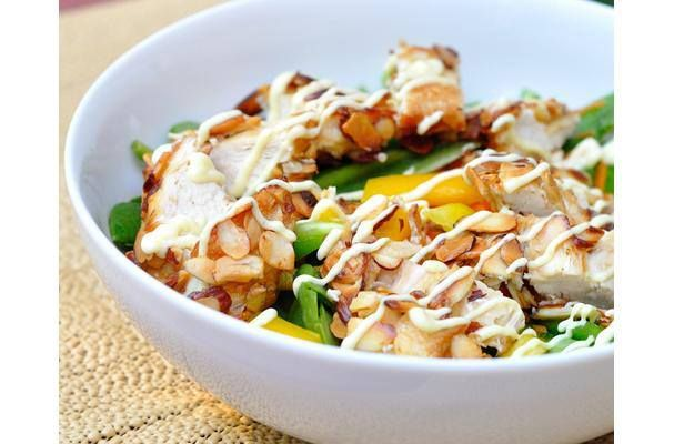 Almond-crusted Chicken Salad with Honey Mustard Dressing     Kohler Created. It's easy to make and delicious to eat!