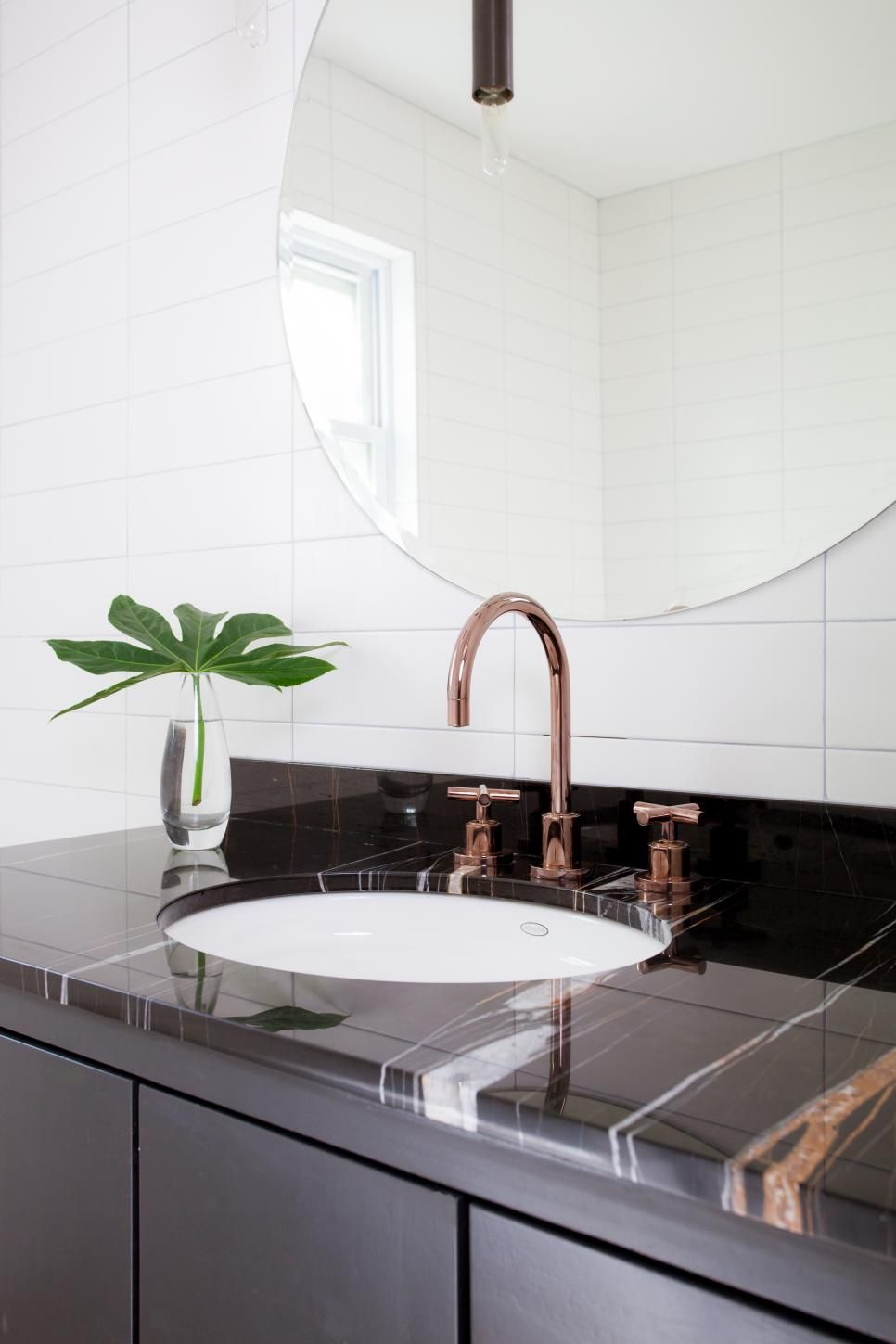 Keeping the main elements of this bathroom sleek and simple, like ...