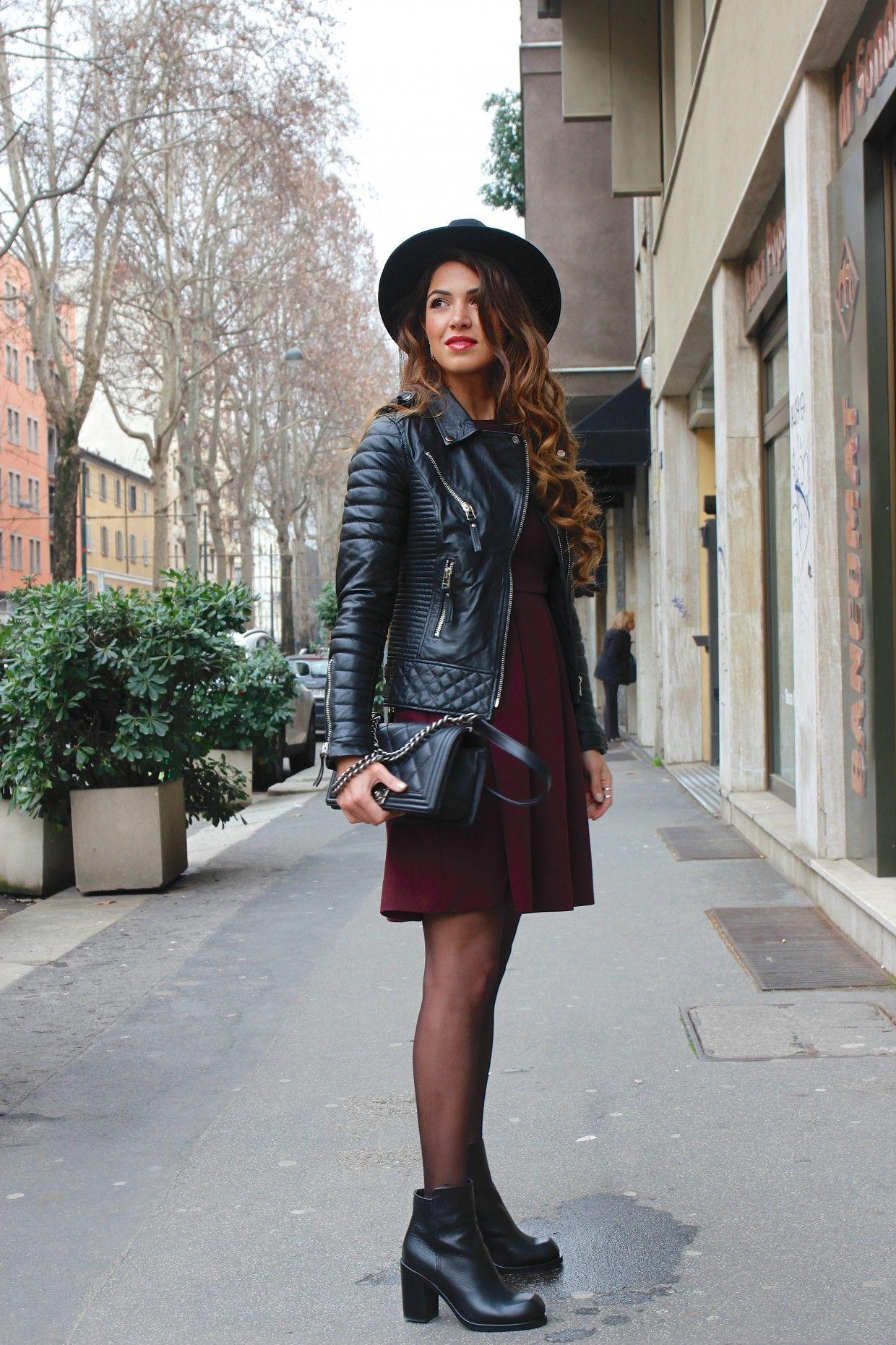 Milan Day 2: Aubergine and Leather | Negin Mirsalehi