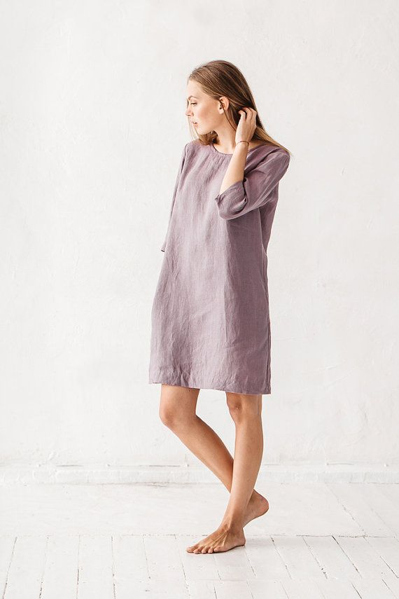 Linen dress, Dusty lavender linen dress, Minimal linen dress, Linen tunic, Stone washed linen tunic, Casual dress, Dress with pockets