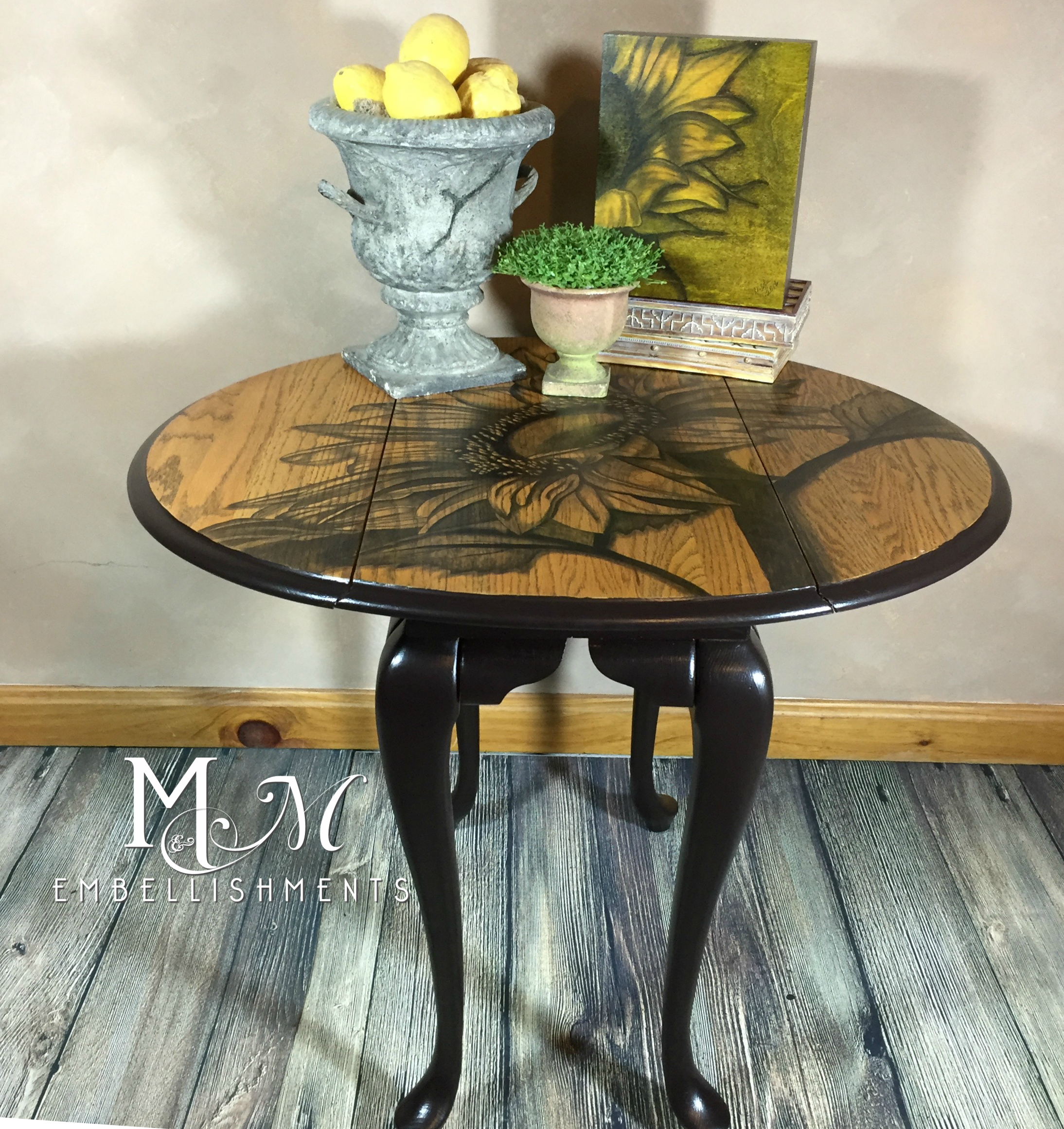 Hand stained sunflower on drop leaf end table stain painting