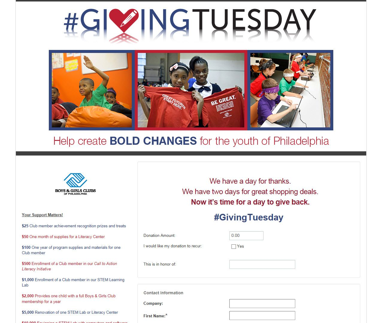BGC 2016 Giving Tuesday entry Nice job of showing where the money goes https://bgcphila.ejoinme.org/?tabid=566945